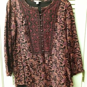 Red Orange Floral Boho Tribal Top M Lucky Brand